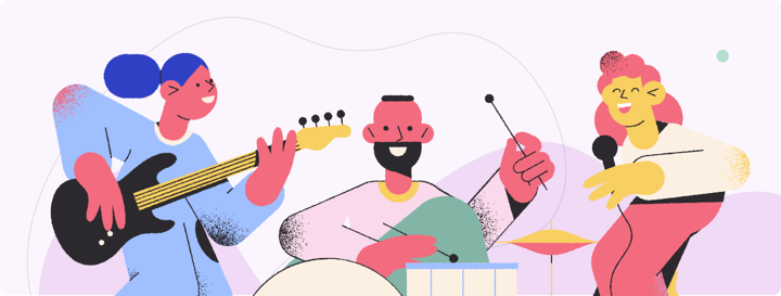 illustration of 3 people playing musical instruments