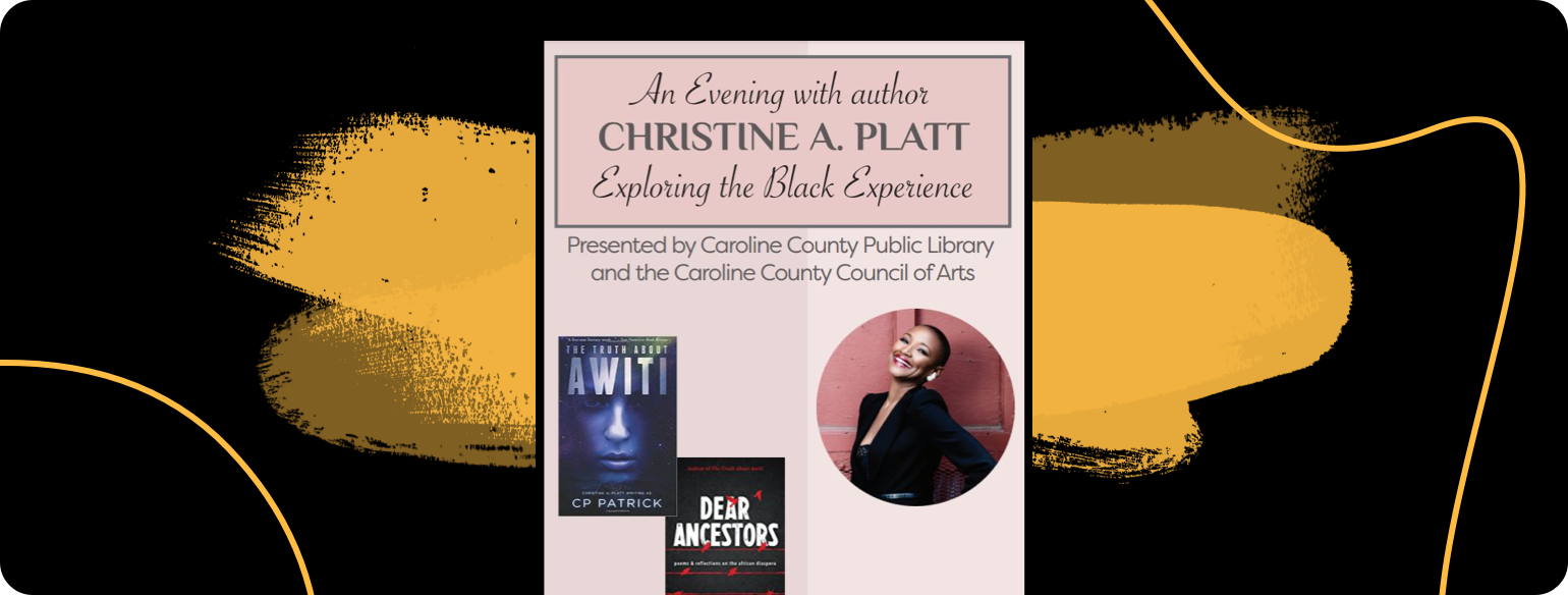 An image of an event invite to a book talk with Christine A Platt