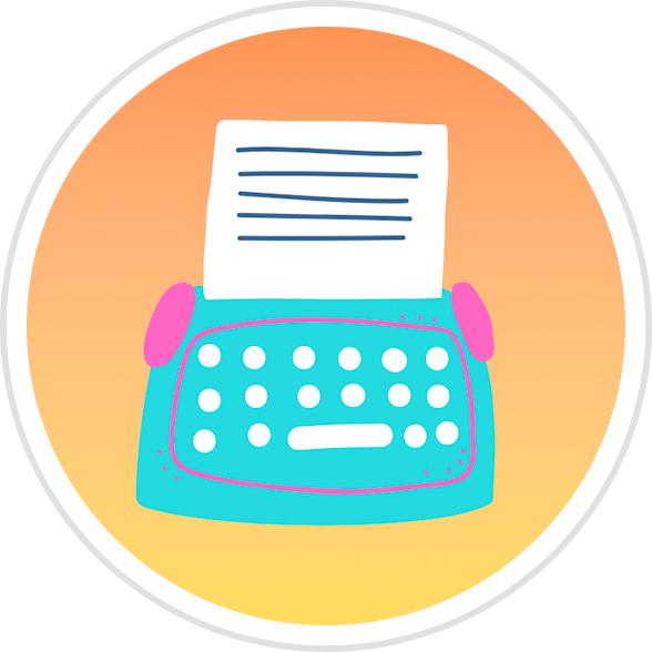 Typewriter Badge