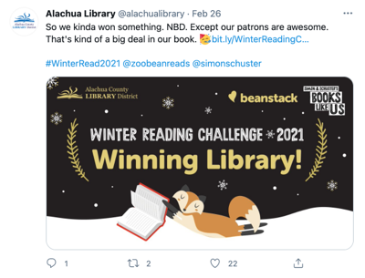 Tweet from Alachua Library (@alachualibrary)