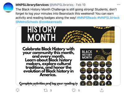 Tweet from MNPS Library Services (@MNPSLibraries)