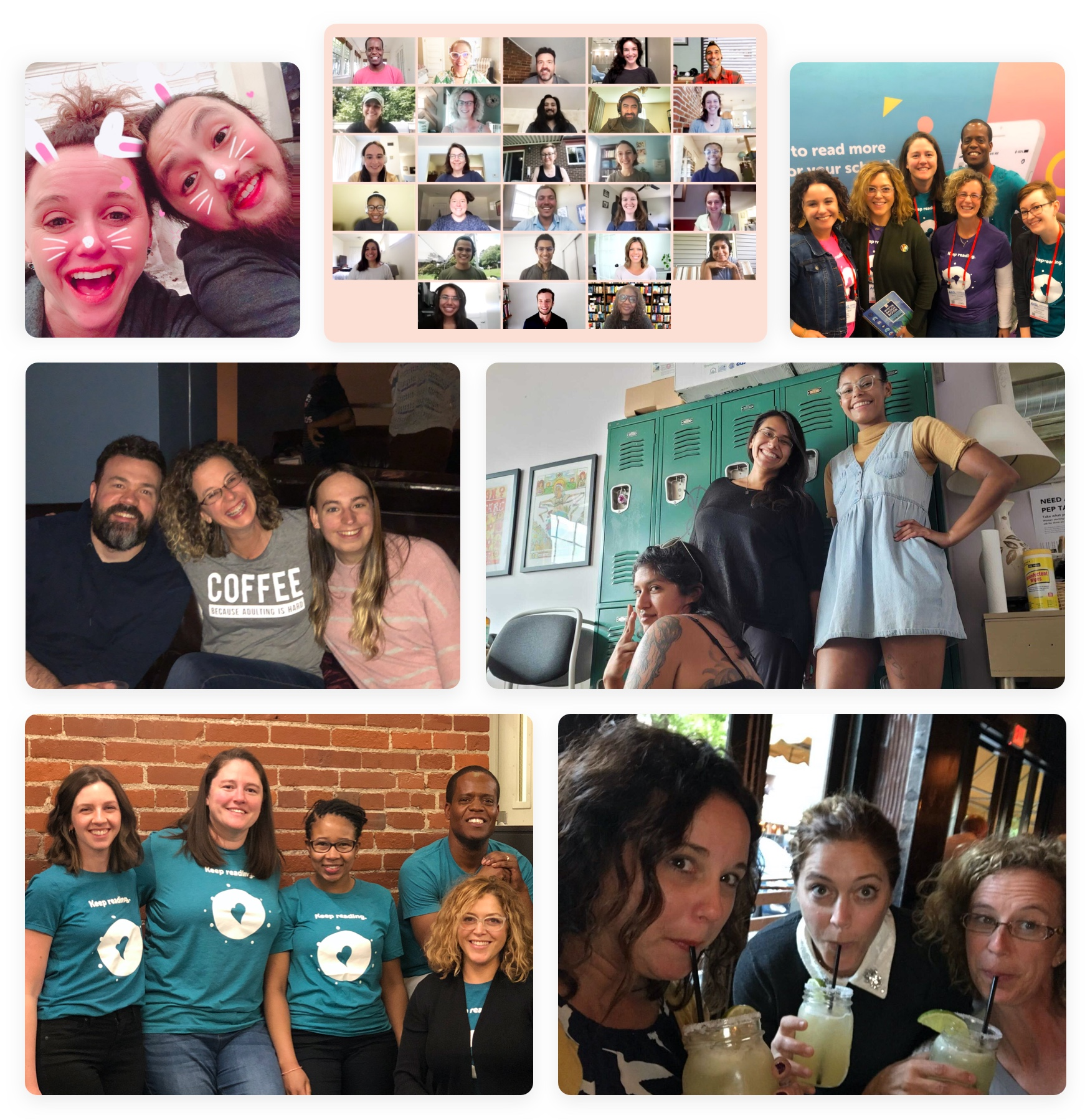 Grid of photos of the Zoobean team