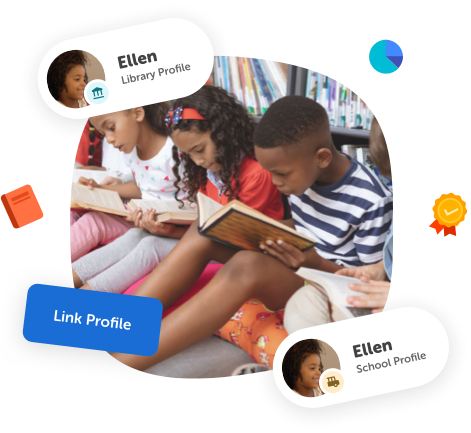 Photo of kids reading with a collage of elements for linking a profile.
