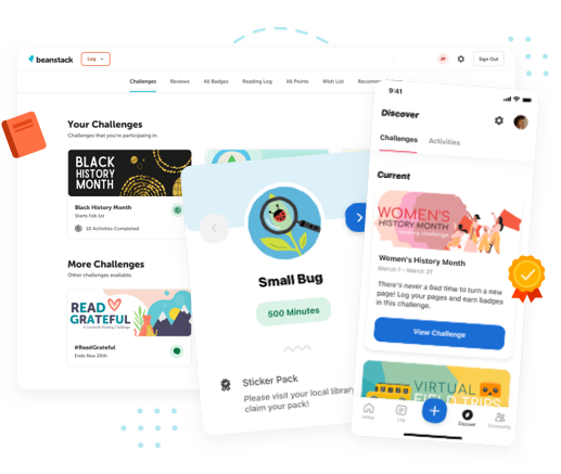 Collage of the Beanstack web app, mobile app, and a badge being earned.
