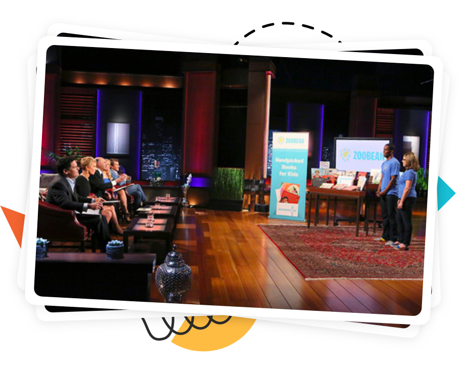 Photograph of Zoobean in front of the sharks on Shark Tank.